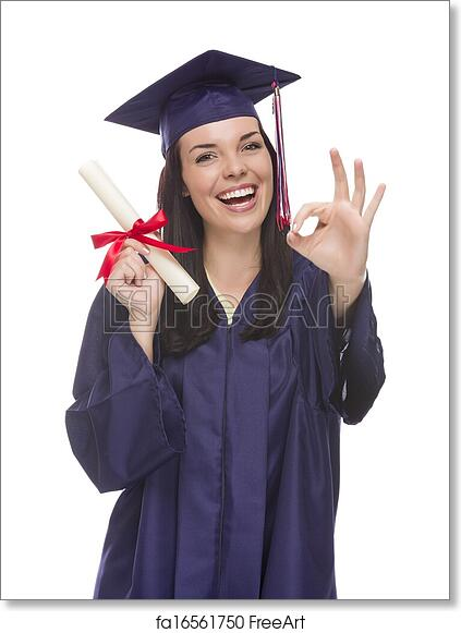 a1bc289ad7c Free art print of Mixed Race Graduate in Cap and Gown Holding Her Diploma. Happy  Graduating Mixed Race Female Wearing Cap and Gown with Her Diploma Gives Ok  ...