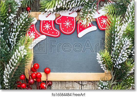 Free Art Print Of Blackboard Blank Framed In Beautiful Christmas