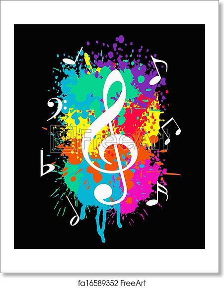 Free Art Print Of Music Grunge Wallpaper With Music Symbols On