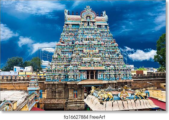 Free art print of Great South Indian architecture  Sri Ranganathaswamy  Temple over blue sky  South India, Tamil Nadu, Thanjavur (Trichy)
