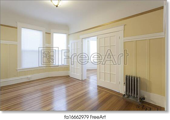 free art print of clean empty studio apartment room freeart
