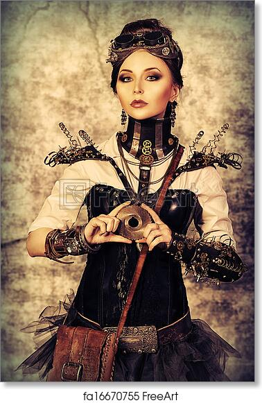 0ed2bdc1e11 Free art print of Posing steampunk. Portrait of a beautiful steampunk woman  over grunge background.