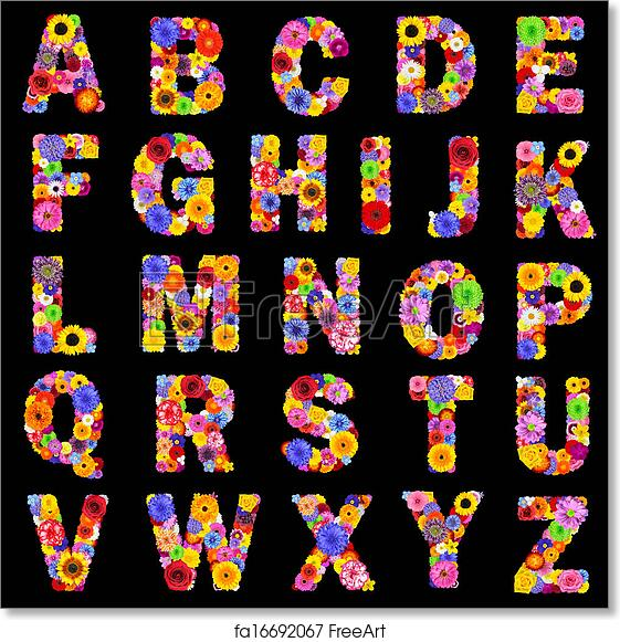 Free art print of Full Floral Alphabet Isolated on Black- Letters A to Z