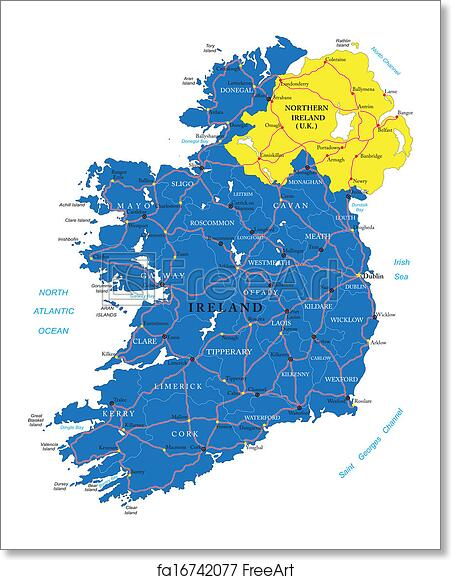 Ireland Map With Cities.Free Art Print Of Ireland Map Highly Detailed Vector Map Of Ireland