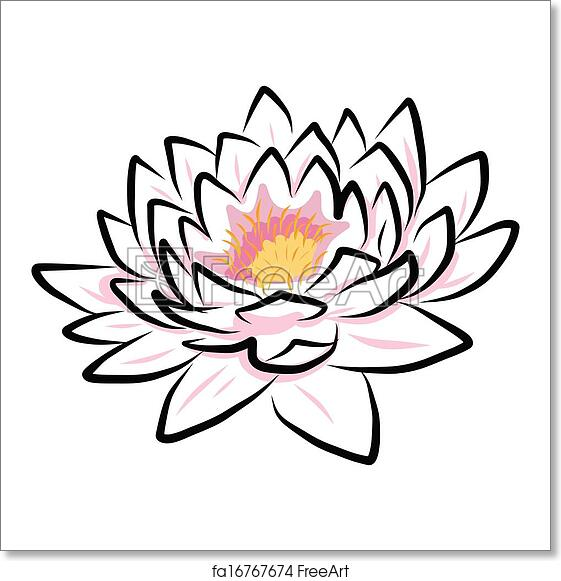 Free Art Print Of Hand Drawing Water Lily Lotus Flower Hand