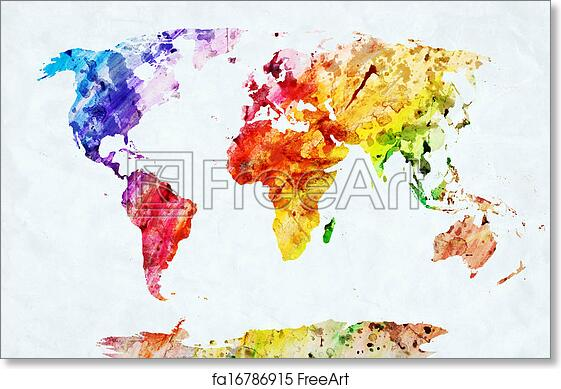 graphic relating to Free Printable World Map Poster known as Absolutely free artwork print of Watercolor worldwide map