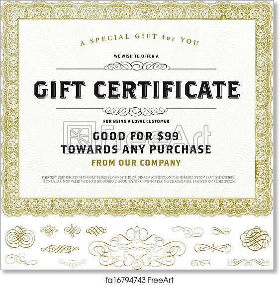 Free Art Print Of Vector Vintage Gift Certificate Template With Gold