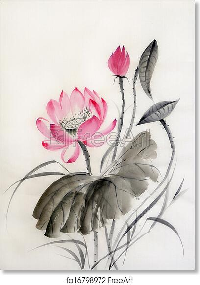 Free Art Print Of Watercolor Painting Of Lotus Flower Watercolor
