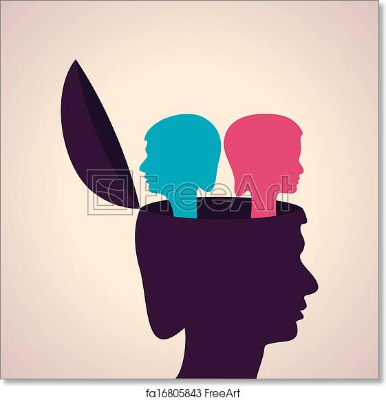Free Art Print Of Human Head With Male And Female Fac Illustration