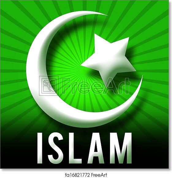 Free Art Print Of Islam Symbol Green Burst Islam Symbol In Green