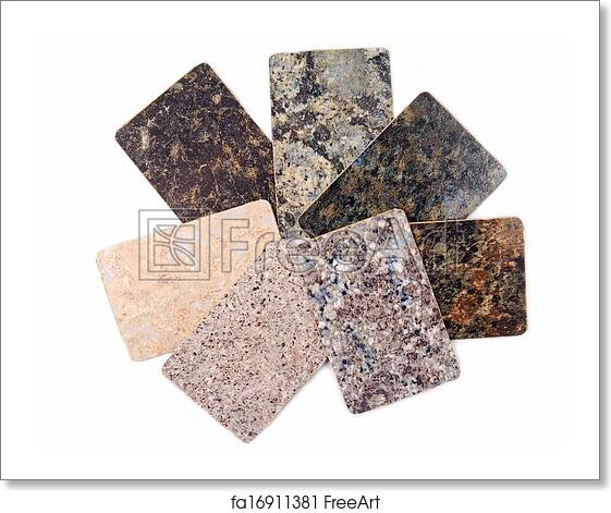 Free art print of Granite kitchen worktop samples isolated on white