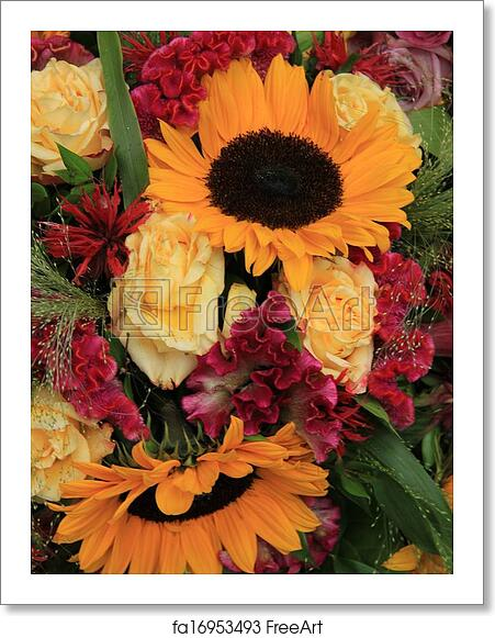 Free Art Print Of Yellow And Red Flower Arrangement Sunflowers And