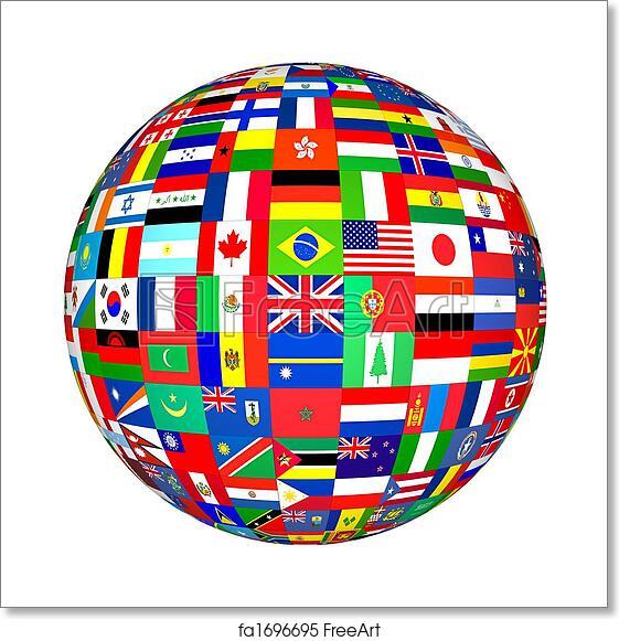 Free art print of World Flags. Globe flags of the world. | FreeArt | fa1696695