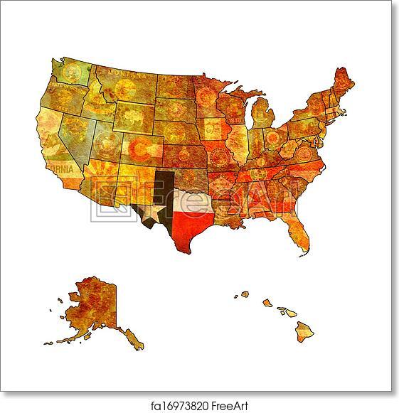 Map Of Usa Texas.Free Art Print Of Texas On Map Of Usa