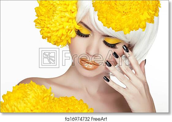 Free Art Print Of Beauty Blond Female Portrait With Yellow Flowers