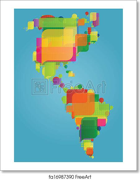 Map Of America North South And Central.Free Art Print Of North South And Central America Continent World Map Made Of Colorful Speech Bubbles Concept Illustration Background Vector