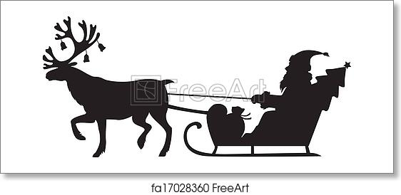 Free Art Print Of Santa Claus Riding A Sleigh With Reindeer