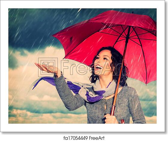 Free Art Print Of Smiling Woman With Umbrella Over Autumn Rain