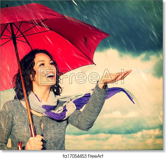 7d309dd06bef7 Free art print of Smiling Woman with Umbrella over Autumn Rain Background    FreeArt   fa17054453