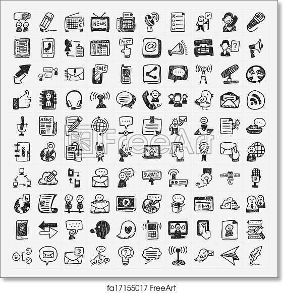 graphic about Free Printable Picture Communication Symbols known as Free of charge artwork print of Doodle interaction icons fastened