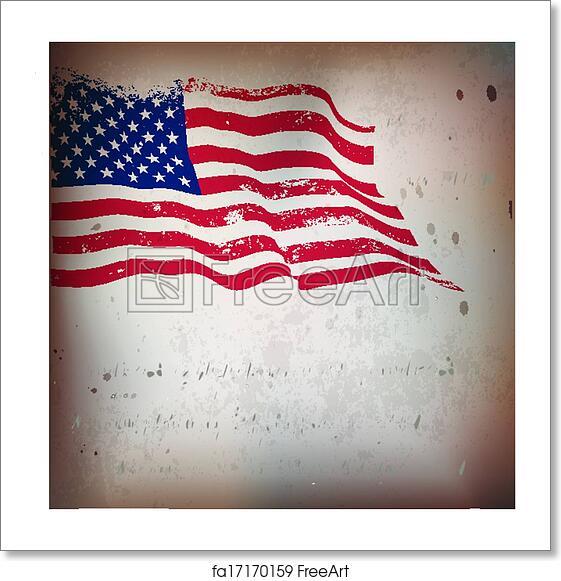 free art print of american flag vintage textured background