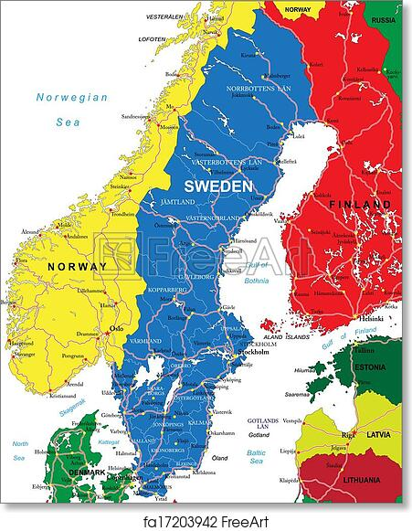 photograph relating to Scandinavia Map Printable known as Cost-free artwork print of Sweden map