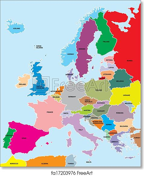Free Art Print Of Europe Map Colored Europe Map On The Blue