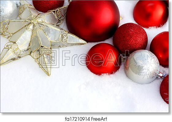 Christmas Ornaments Background.Free Art Print Of Christmas Decorations Framing Snow Background