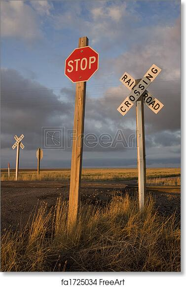 graphic relating to Railroad Crossing Sign Printable known as Cost-free artwork print of Rural railroad crossing witrh a protect against indication