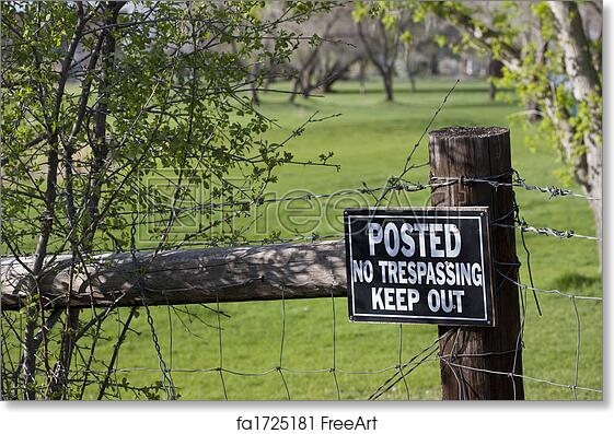 graphic relating to Printable No Trespassing Sign identify Free of charge artwork print of No tresping indicator upon a fence encompassing eco-friendly golfing study course