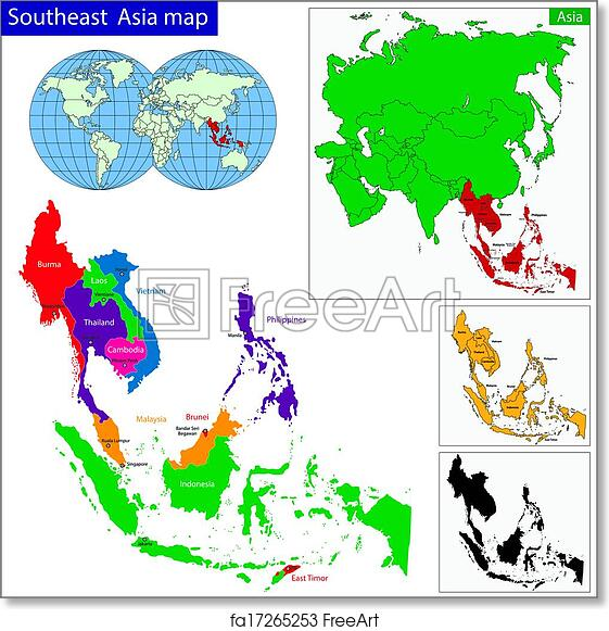 Map Of Asia To Print.Free Art Print Of Southeastern Asia Map Color Map Of Southeastern