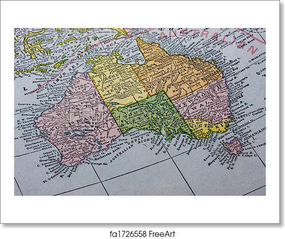 Map Of Australia And Tasmania.Free Art Print Of Australia With Tasmania On A Vintage Map Vintage