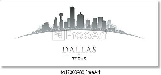 free art print of dallas texas city skyline silhouette white background