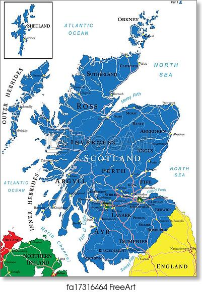 photograph about Printable Map of Scotland identified as Absolutely free artwork print of Scotland map