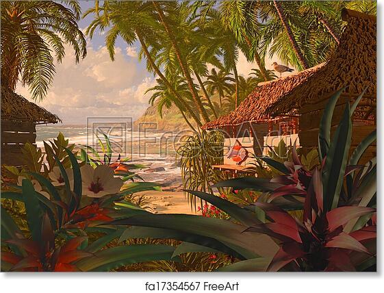 "Hawaii Beach Landscape Paradise Beach Coconut Palm Tree Poster 24/""x13/"" 010"