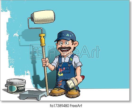 Free art print of Handyman - Wall Painter Blue Uniform