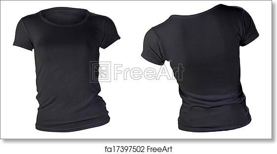 Free Art Print Of Womens Blank Black T Shirt Template Womens