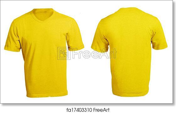 Free Art Print Of Mens Blank Yellow V Neck Shirt Template