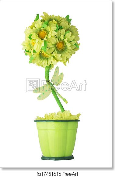 Free art print of Artificial flowers in flower pots. Artificial flowers in flower pots. Sunflowers and dragonfly. Isolated on white background | FreeArt | ...  sc 1 st  FreeArt & Free art print of Artificial flowers in flower pots. Artificial ...