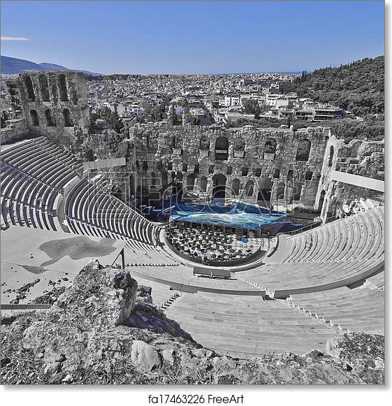 free art print of ancient greek theatre under acropolis of athens