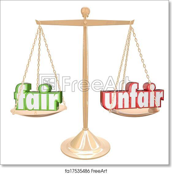 Balance Justice free art print of fair vs unfair words scale balance justice