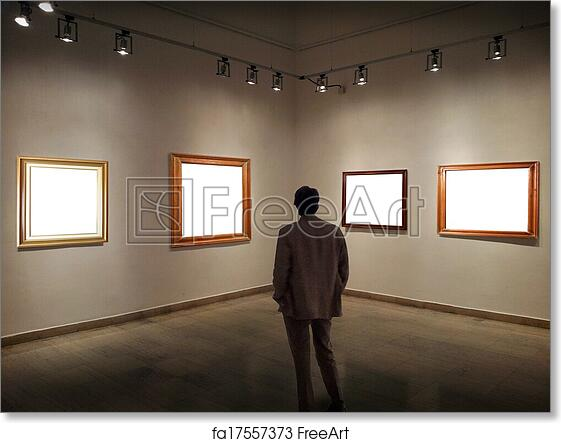 Free art print of Man in gallery room looking at empty picture ...