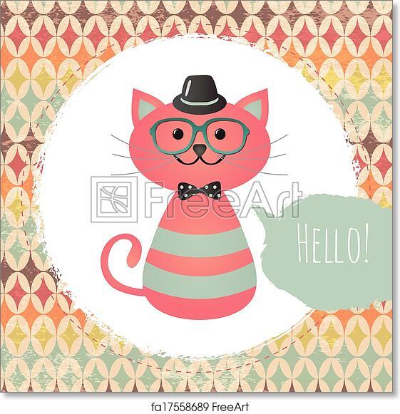 Free Art Print Of Hipster Cat In Textured Frame Design Illustration