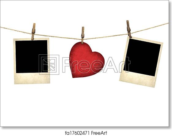 Free Art Print Of Old Style Photo And Valentine Card Heart Shaped