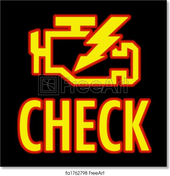 Free Art Print Of Check Engine Light Icon That Pops Up On Dash When