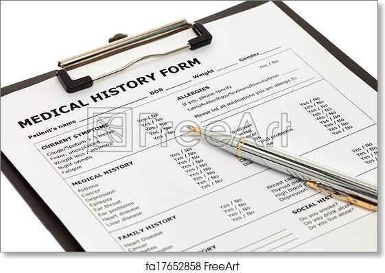 Free Art Print Of Patient Medical History Form Patient Medical