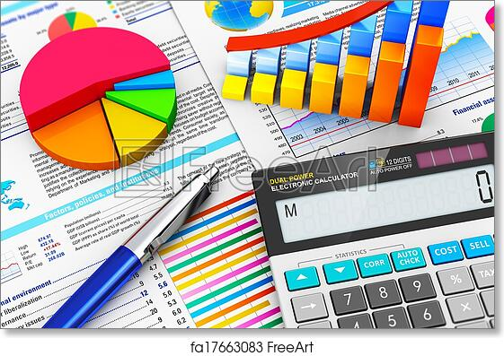 Free art print of business finance and accounting concept business business finance tax accounting statistics and analytic research concept macro view of office electronic calculator bar graph charts pie diagram and ccuart Image collections