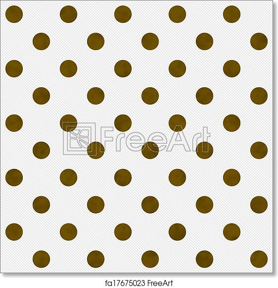 free art print of gold polka dots on white textured fabric