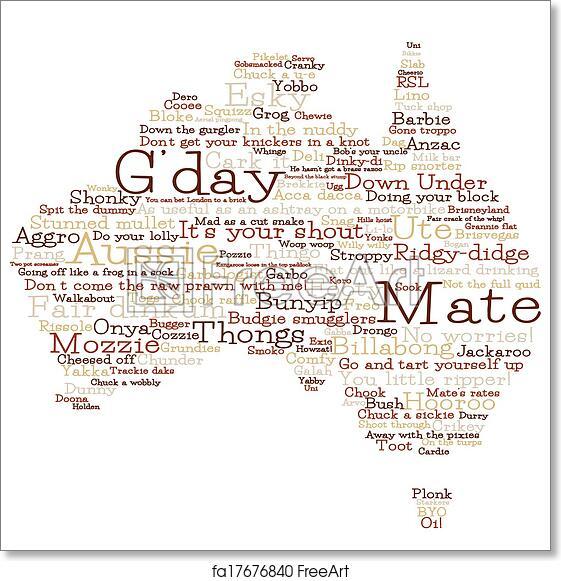 Free art print of Australia map made from Australian slang words