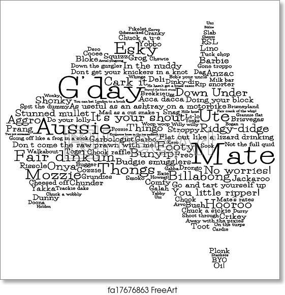Australia Map Vector.Free Art Print Of Australia Map Made From Australian Slang Words In Vector Format